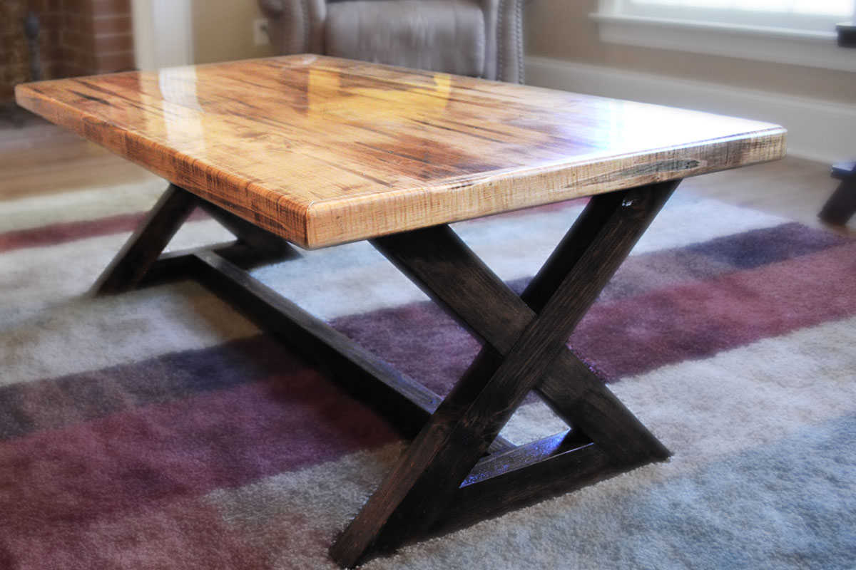Coffee Table In Solid Wormy Maple With A Golden Oak Stain And Rustic Base Stained Espresso